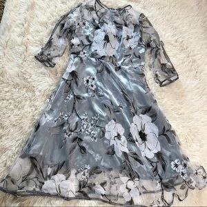 Dove Gray Sleeved Dress with White Floral Overlay